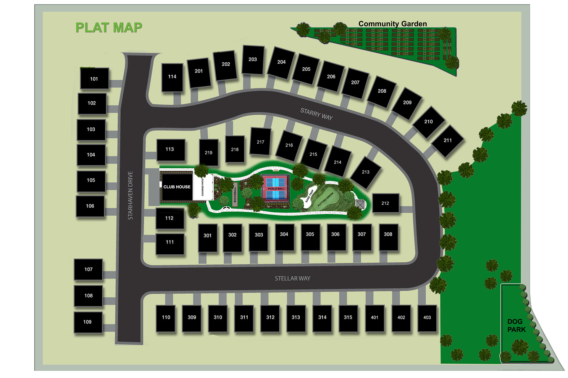 Plat Map at Starhaven Villas - A 55+ community in Saratoga Springs Utah